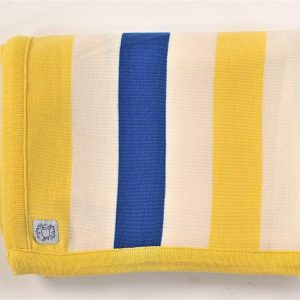 Yellow, cream & blue striped blanket
