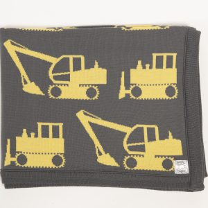 Grey blanket with yellow excavator print