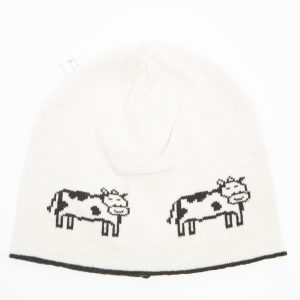 Cream beanie with black cow print