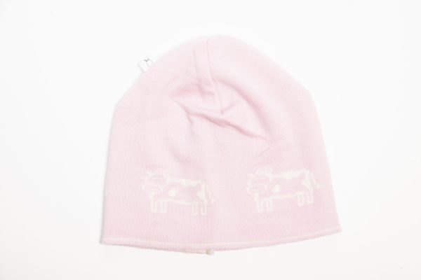 Pink beanie with cream cow print
