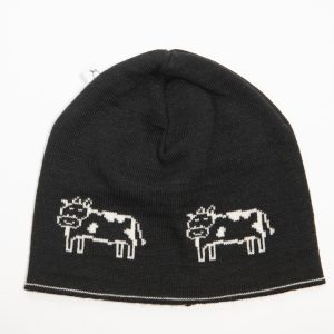 Black beanie with white cow print