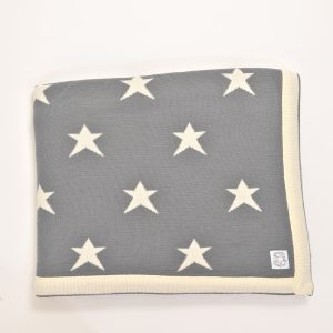 Grey blanket with cream edging and stars