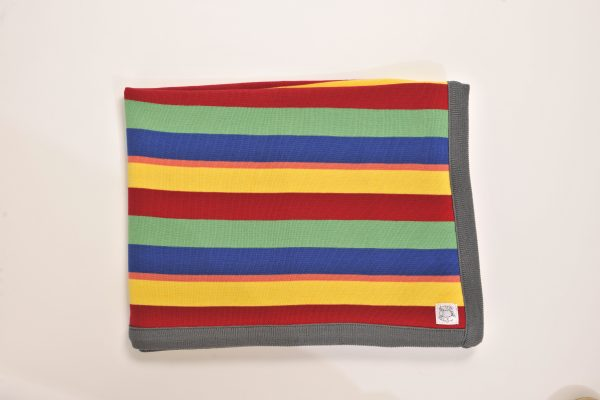 Bright rainbow striped blanket