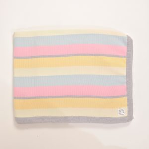 Blue, cream, yellow, pink and grey blanket with grey edging