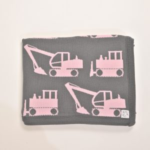 Grey blanket with pink excavator pattern