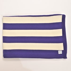 Purple and cream striped blanket