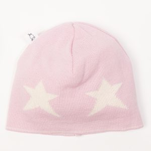 Pink beanie with cream stars