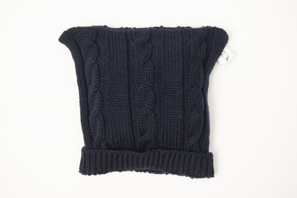 Navy blue cable knit beanie