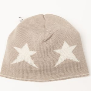Latte coloured beanie with cream stars