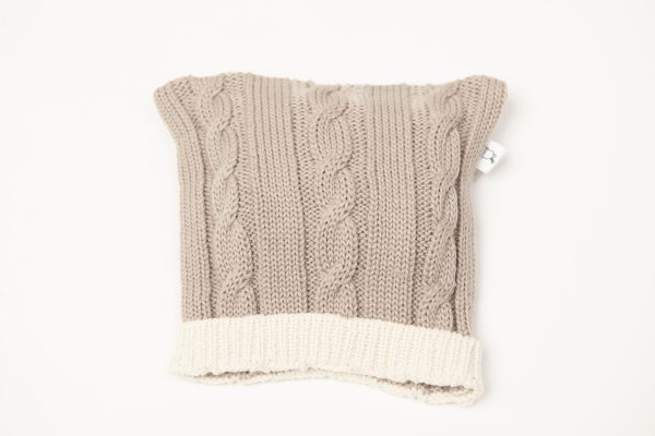 Latte coloured cable knit beanie with cream edging