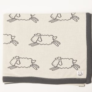 Cream blanket with grey edging and grey Leroy sheep print
