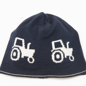 Navy beanie with cream tractor pattern