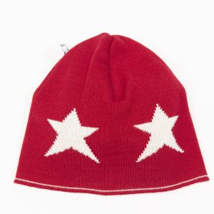 Red beanie with cream stars