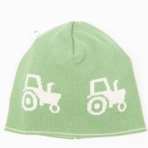 Green beanie with cream tractors