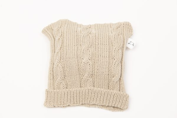 Latte coloured cable knit beanie