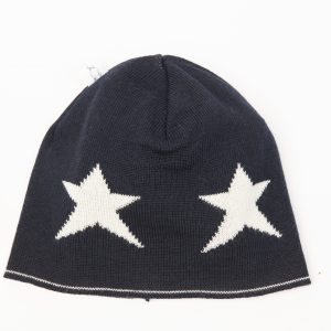 Black beanie with cream star pattern