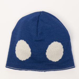 Blue beanie with cream spots
