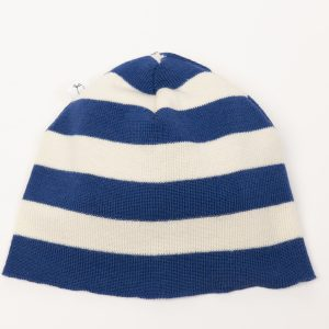 Blue and cream striped beanie