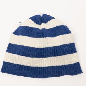 Blue and cream striped beanie