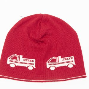 Red beanie with cream firetrucks