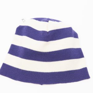 Purple and cream striped beanie