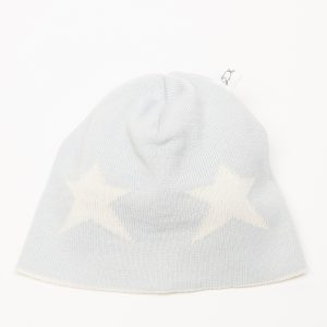 Ice blue beanie with cream star pattern
