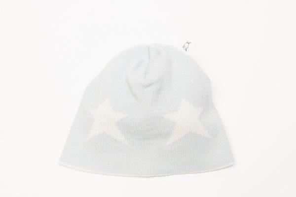 Ice blue beanie with cream star pattern
