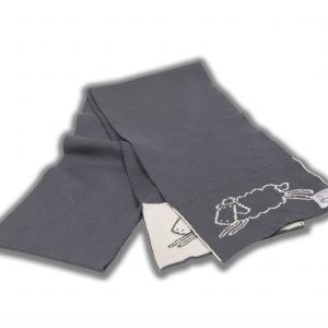 Grey scarf with cream sheep pattern