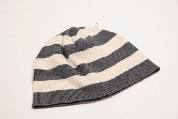 Grey and cream striped beanie