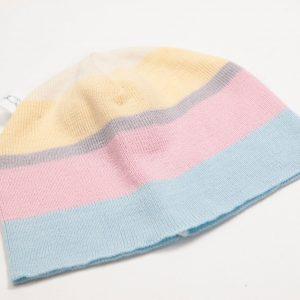 Blue, pink, grey, yellow & cream striped beanie