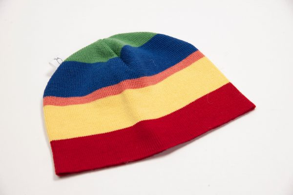 Red, yellow, salmon, blue and green striped beanie